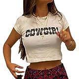Women Y2k Graphic Print Crop Top Summer O Neck Crop T-Shirt E-Girl Clothing for Teen Girls