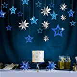 Decor365 Blue Silver Star Party Decoration Kit Metallic Glitter 3D Star Garland Twinkle Little Star Cutouts Starry Party Supp