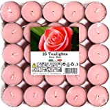 Cocod'or Scented Tealight Candles 25 Pack, Tea Rose, 5-8 Hour Extended Burn Time, Made In Italy