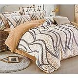 SofiAty 暖かく柔らかい冬用起毛花柄 布団カバー 4点セット セミ ダブル クイーン ムーンライト BCH3505