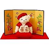 【プティルウ】還暦に贈る、赤いちゃんちゃんこを着た干支のメモリアルベア(金屏風) 2020 ねずみ