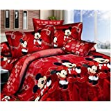 Mickey and Minnie Mouse King Queen Adults Cartoon Bedding Set Cotton Bed Sheet Linens Doona Duvet Cover/comforter Cover Sets (Red, Queen) by Paiboon lucky [並行輸入品]