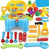 おままごと 大工さん ツールセット ごっこセット ホームツール箱 整備工具セット ソニ ごっこ遊び (多機能ツールスツール)