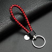 Yipingクリエイティブキーリングギフト人気レザーストラップ織りロープキーリングキーチェーンキーチェーンギフト(ブラック、レッド)