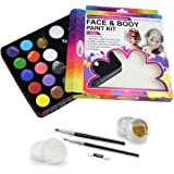 Water Based Non-Toxic FDA Approved Face&Body Paint for Sport Party-Kids adult-12 Colors Palette,25 Stencils, 2 Brushes,2 Glit