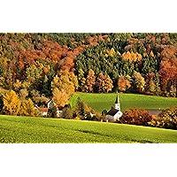 斜面、森林、木、フィールド、住宅、教会、秋 キャンバスの 写真 ポスター 印刷 旅行 風景 景色 - (105cmx70cm)