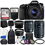 Canon EOS 80D DSLR Camera Body + Canon EF-S 18-55mm IS STM & Canon EF-S 55-250mm IS STM Lens + 58mm 2x Lens + Wide Angle Lens + 32GB Memory Card + Auto Power Flash + UV Filter Kit + Accessory Bundle by PHOTO4LESS