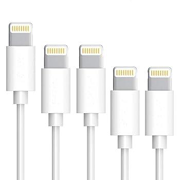 【5本セット】 Lightningケーブル 急速充電 iPhoneケーブル 高速データ転送 USB同期&充電 ライトニングケーブル 純正 apple認証 高耐久性 断線防止 iPhone X/8/8Plus/7/7 Plus/6/6 Plus/6s/6s Plus/5/SE/5s/iPad/iPod 対応 By Sharllen (20cm*2+1m*2+1.8m*1)