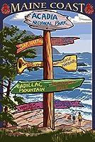 アカディア国立公園メイン州、–Sign Destinations 12 x 18 Signed Art Print LANT-33300-708