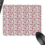 花柄大きなマウスパッド オイル絵画スタイル 視界 フィールド印象派アート フローラルメドウ ブライダル快適マウスパッド 9.8インチx11.8インチ グリーンクリームとホワイト 9.8