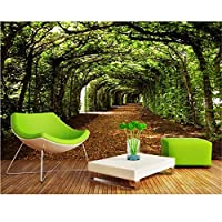 Ansyny 3D壁紙カスタム写真の壁画壁のステッカー3D壁部屋の壁画の壁紙を描くトンネルの緑の木々-420X280cm