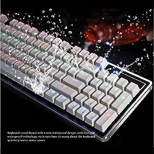 ARINOゲーミングキーボード/USB有線メカニカル ゲームキーボード+マルチライティング アンチゴースティング対応 LEDバックライト付き 複数同時押し対応 英語92キー配列 ⻘軸 ゲームに最適Windows XP/VISTA/Win7/Win8/Win10/Mac/など対応 REICAT--RX3(ホワイト) (92キー)