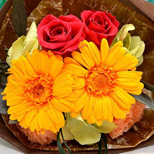 枯れない!100% プリザーブドフラワー の ミニブーケ「フルーティオレンジ」ガーベラ カーネーション 入り 花束