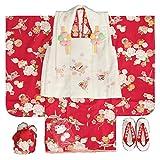 七五三 着物 3歳 女の子 被布セット リョウコキクチ 赤 桜 被布白ピンクぼかし刺繍使い 雛祭り 753 足袋付きの12点フルセット