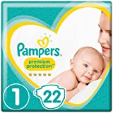 Pampers Premium Protection, Size 1 Newborn (2kg to 5kg), 22 Nappies, For Unbeatable Skin Protection