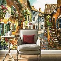 3D写真壁画壁紙、花の壁紙が付いている牧歌的な町のヴィンテージハウスと道路、リビングルームのテレビソファの背景208 cm(W)x 146 cm(H)