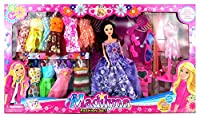 Madilynn Fashion Children's Kid's Toy Doll Playset w/ 16 Different Dress Outfits, Princess Doll, Accessories
