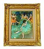 世界の名画 ドガ 緑の衣装をつけた踊り子  ジクレーキャンバス複製画F3号豪華額装品