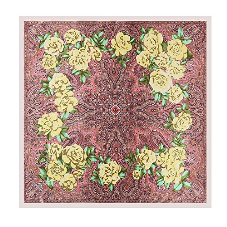 仕様熱望する社会学CATYAA カシューナツプリントシルクスカーフナショナルウィンドショールズラージスクエアスカーフ (Color : Leather pink, サイズ : 90X90cm)