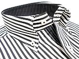 ワイシャツ FATTURA 日本製 綿100% 高級 ホワイト×ブラックストライプ柄トランプ刺繍入りボタンダウンシャツ (LL)