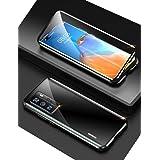 Huawei P40 Pro ケース ファーウェp40pro 対応 uovon アルミバンパー 360°全面保護 磁気吸着 カメラレンズ保護 指紋認証対応 クリアケース ・ ブラック