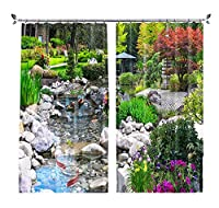 カスタムパーソナリティ3D風景風景寝室リビングルーム窓枠短いカーテンカーテン ウッズクリーク2×幅117×高さ182cm