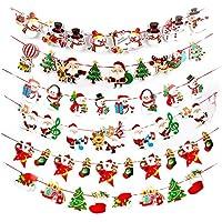 E-Fly クリスマス 飾り サンタフラグ ガーランド 旗 豪華 庭飾り 紙 セット
