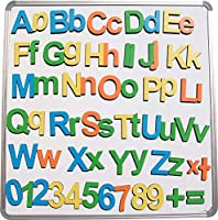 StonKraft 木製磁気英語アルファベット&数字セット (上下ケース、0-9の数字と記号を含む)