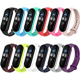 Simpeak 12pcs Silicone Replacement Straps Compatible with Xiaomi Mi Band 5 Mi Band 6 Band Bracelet, Strap Wristband WatchBand