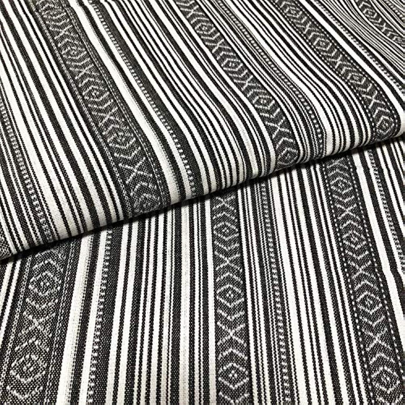 巻き取り失礼コストmoonfarm 全10種 民族 調 柄 生地 綿 手芸用 布 約2m 幅150cm(ストライプJ)