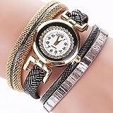 ZooooM ブレスレット デザイン 腕 時計 ウォッチ フェイク 文字盤 アナログ ファッション アクセサリー ユニーク カジュアル レディース 女性 (ブラック) ZM-BRTIKU-BK