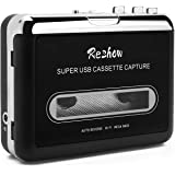 Reshow Cassette Player – Portable Tape Player Captures MP3 Audio Music via USB – Compatible with Laptops and Personal Compute