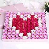 Haicool 石鹸花 バラとポプリ 99個セット ハート型 手作り 洗う 手 お風呂 香り キレイ フラワー ソープ ギフト 誕生日 結婚お祝い バレンタインデー ロマンチック 贈り物 (ピンク)
