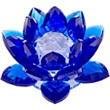 Amlong Crystal 3 Inch Sapphire Blue Crystal Lotus Flower Feng Shui Home Decor with Gift Box