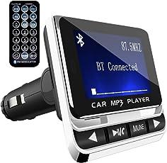 FMトランスミッター TC Bluetooth ワイヤレス 発信機 無線 レシーバー 高音質 TFカード & USBメモリー対応 急速充電USBポート搭載 ハンズフリー通話 カーチャージャー 有線接続「AUX-IN」採用 超大ディスプレイ搭載 日本語説明書付き 一年メーカー質量保証 (ホワイト)