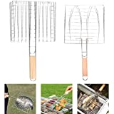 BBQ Net Basket - Grilling Baskets for Fish - Portable Stainless Steel BBQ Grill Basket BBQ Grill Net BBQ Accessories with Woo