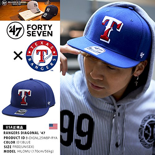 【B-DIGNL25WBP-RYA】 フォーティーセブンブランド 47BRAND キャップ テキサス レンジャーズ コラボ CAP 帽子 MLB メジャーリーグ 正規品 (01)青 Fサイズ