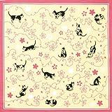kenema 手捺染 小風呂敷 さくら猫 50×50cm