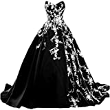 Kivary White Lace Long Ball Gown Satin V Neck Formal Prom Evening Dresses Gothic