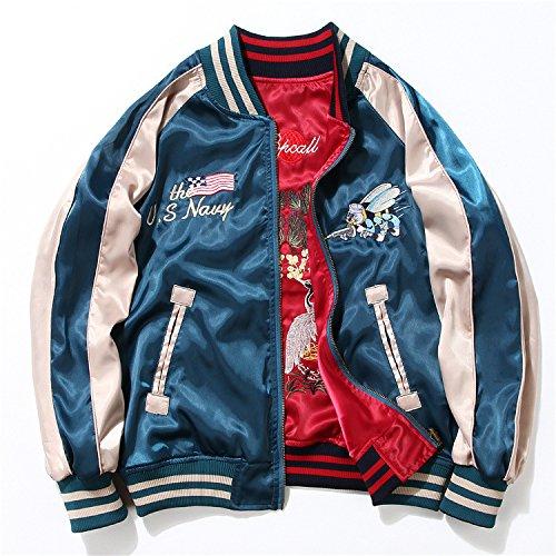 ドゥマン demain スカジャン リバーシブル ブルゾン 2way MA-1 刺繍 男女兼用 M~4XL 6サイズ 大きいサイズ AL09 (3XL, BLUE*RED)