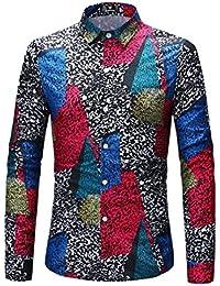Keaac メンズボタンダウンシャツ幾何プリントコットンロングスリーブシャツ