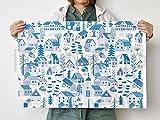 ハーフカットクロス kauniste(カウニステ) Mokkila(モッキラ) ブルー 約70cm×50cm