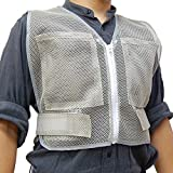 PAX-ASIAN 男女兼用 熱中対策 涼感 メッシュベスト 保冷剤収納ポケット 前後4個収納可能 (冷却剤は別売りです)グレ− #912