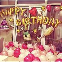 シャンパン 風船 バルーン ケーキ 誕生日 ローマ字 英字 ボトル ピンク ハート グラス セット 空気入れ付 【SDR】