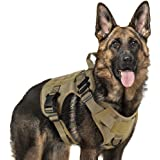 rabbitgoo Tactical Dog Harness Vest Large with Handle, Military Working Dog Molle Vest with Metal Buckles & Loop Panels, No-P