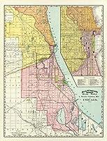 古い鉄道マップ–Chicago Illinois鉄道ターミナル–1892–23x 30 Glossy Satin Paper ILRW0001-2