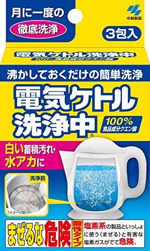 電気ケトル洗浄中 白い蓄積汚れ・水あかに 100%食品成分ク...