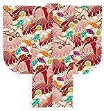 (ソウビエン)袴用二尺袖着物 単品 JAPAN STYLE×中村里砂 ピンク 赤 鶴 菊 重衿付き 小振袖 卒業式 謝恩会 女性 レディース 仕立て上がり 日本製 Lサイズ