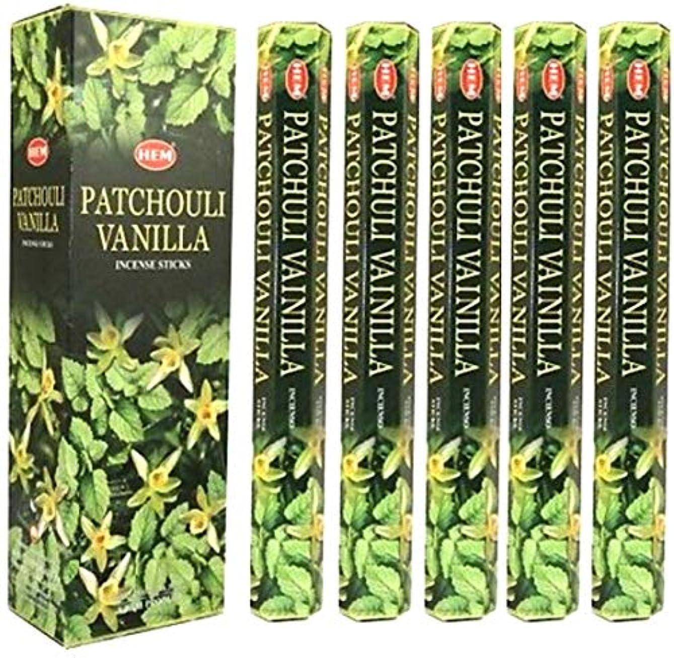 繊維管理送るHem Patchouli Vanilla 100 Incense Sticks ( 5 x 20スティックパック)