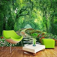 Gyqsouga 3Dカスタム壁紙リビングルームのソファテレビの背景家の装飾壁画森の木公園風景写真の背景壁壁画-200X150CM